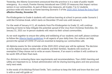 Letter from Superintendent