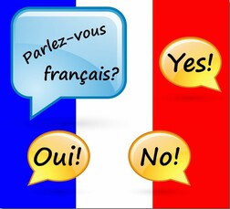 French flag and french conversation bubbles graphic