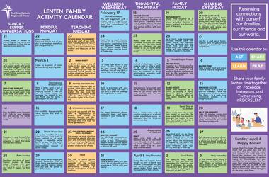 Lenten Family Activity Calendar