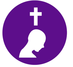 Reconciliation with bowing head under cross graphic