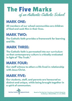 Five Marks of an Authentic Catholic School Poster